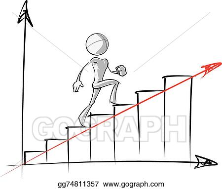 Vector Art Simple People Steady Growth Chart Eps Clipart