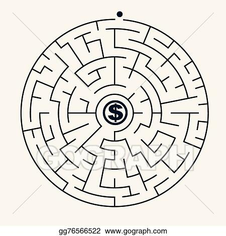 Vector Illustration - Simple round maze with money icon  EPS