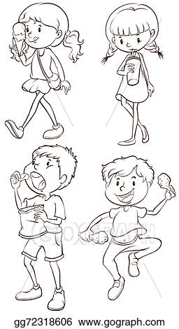 simple sketches of kids taking their snacks