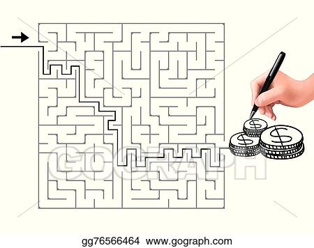 Vector Illustration - Simple square maze with money icon  EPS