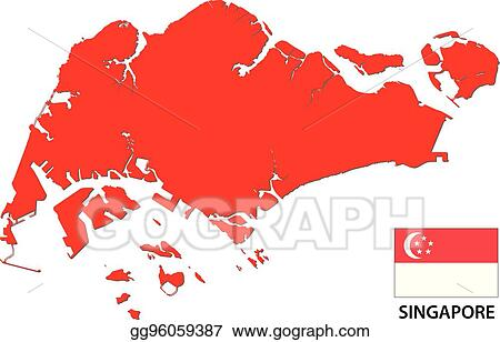 Vector Art - Singapore map and flag. EPS clipart gg96059387 - GoGraph