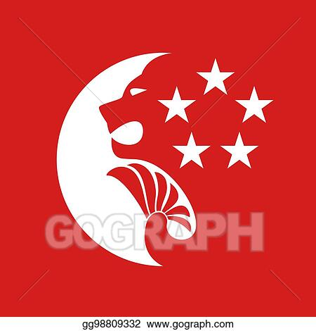 EPS Vector - Singapore moon and stars symbol  Stock Clipart
