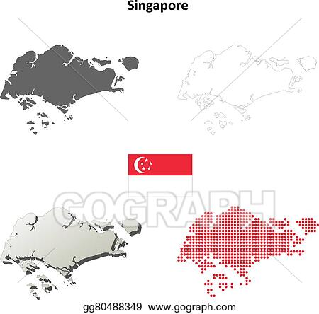 Vector Art - Singapore outline map set. Clipart Drawing gg80488349 ...