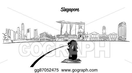 Vector Stock Singapore Outline Silhouette With Lion In Foreground Clipart Illustration Gg87052475 Gograph Choose from 10+ lion silhouette graphic resources and download in the form of png, eps, ai or psd. https www gograph com clipart license summary gg87052475
