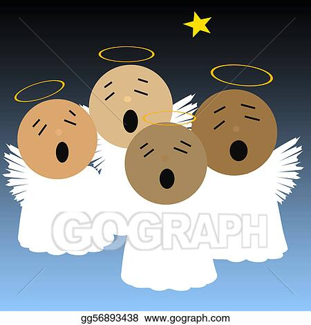 Stock Illustration - Singing angels  Clipart Drawing gg56893438