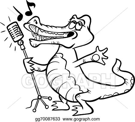 Singing Crocodile Coloring Page