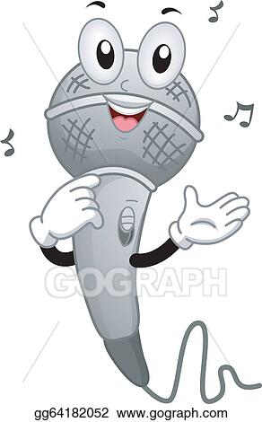 Vector Art Singing Microphone Mascot Clipart Drawing Gg64182052
