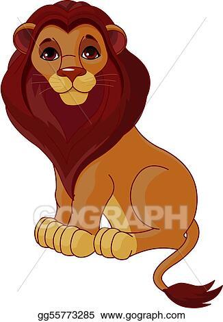 Lion sitting. Vector art eps clipart