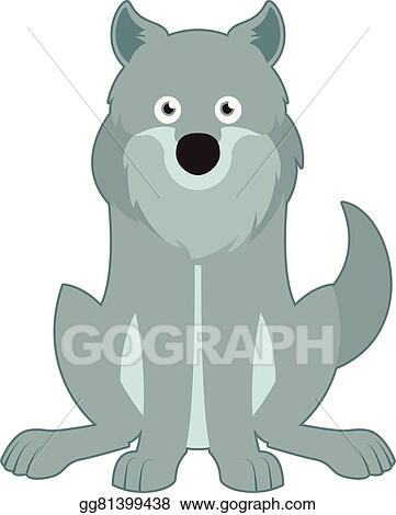 Wolf sitting. Vector art clipart drawing