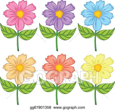 Vector Art - Six colorful flowers. Clipart Drawing ...