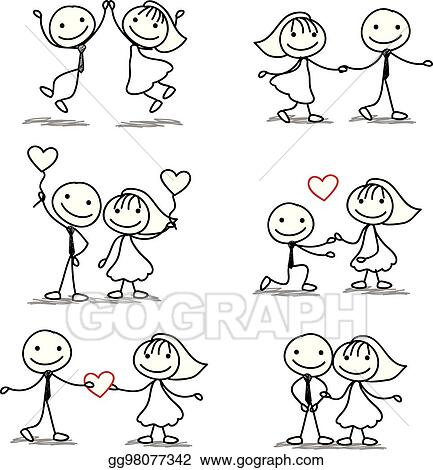 vector clipart six cute and fun stick figure wedding collection