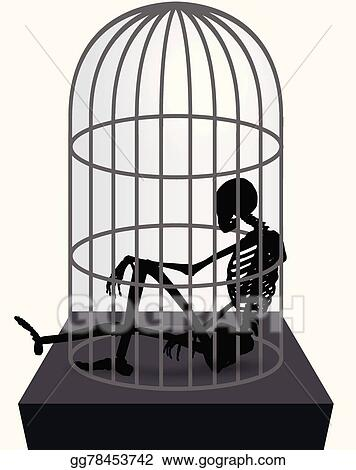 eps illustration skeleton silhouette in sitting in cage vector