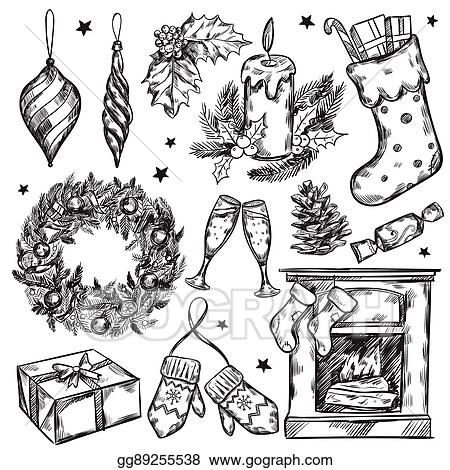 Vector Clipart Sketch Christmas Gifts Icon Set Vector Illustration Gg89255538 Gograph