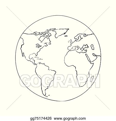Vector Illustration Sketch Globe World Map Black Vector