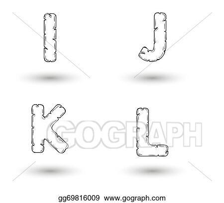 Vector Illustration Sketch Jagged Alphabet Letters I J K L