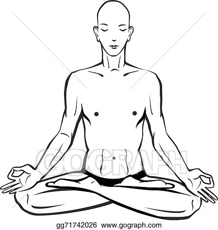 Sketch Of Man In Meditating And Doing Yoga Poses