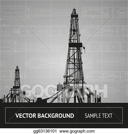 Vector Art - Sketch of oil rig  Clipart Drawing gg63136101