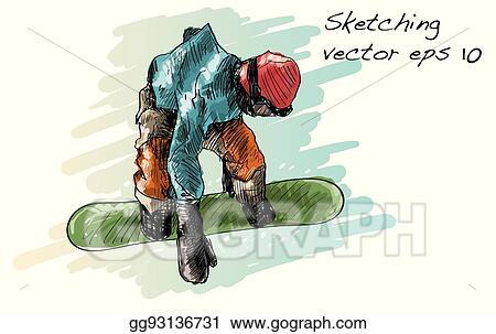 Vector Stock Sketch Of Snow Board Man Riding Winter Sport