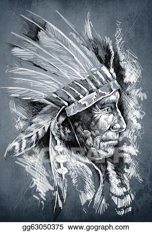 Drawings Sketch Of Tattoo Art Native American Indian Head Chief