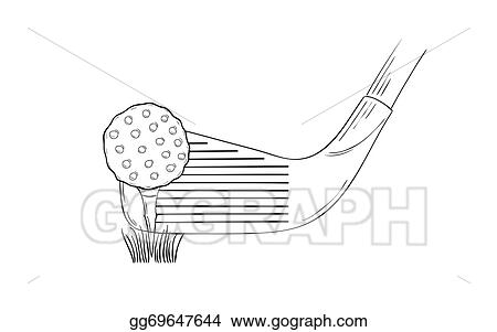 Vector Clipart Sketch Of The Golf Ball And Golf Club Vector Illustration Gg69647644 Gograph