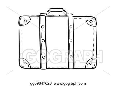 Vector Art , Sketch of the suitcase. Clipart Drawing