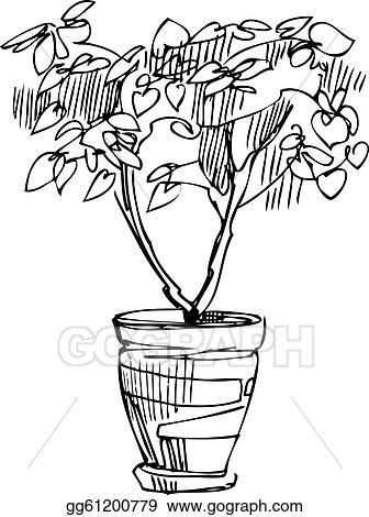 266 & Vector Art - Sketch room plant flower in a pot. EPS clipart ...
