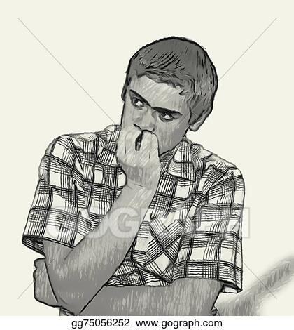 Clipart Sketch Teen Boy Body Language Nervous Biting Nails