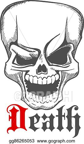 Vector Illustration Sketched Creepy Laughing Human Skull Icon Eps
