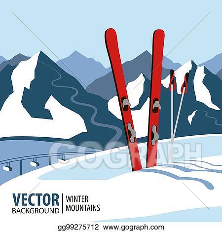 Vector Art - Ski background, mountains in winter season