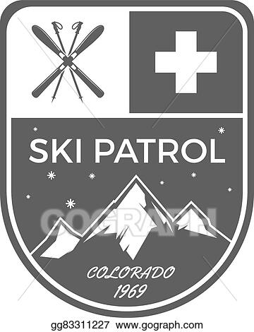 Vector Clipart - Ski patrol label  vintage mountain winter