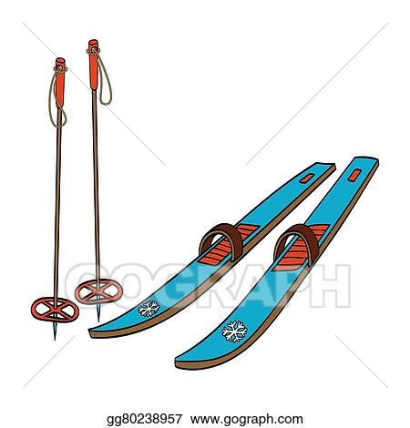 vector stock skis with classic bindings and ski poles clipart rh gograph com ski clip art images ski clip art images
