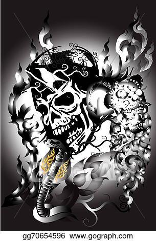 c85f6b806a600 Stock Illustration - Thai, illustration, human, snake, halloween,  decoration, bone, dragon, body, dead, skull, fire, tattoo, evil, sign, line,  banner, head, ...