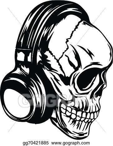 8575c4abf8c Vector Illustration - Skull in headphones. Stock Clip Art gg70421885 ...
