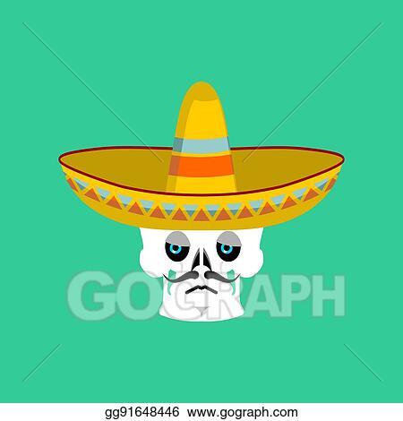 Vector Art - Skull in sombrero sad emoji  mexican skeleton