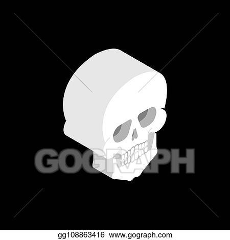 Vector Art - Skull isometric isolated  3d bones anatomy