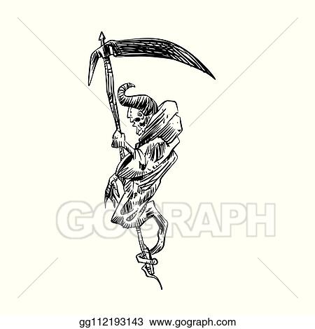 Clip Art Vector - Skull of grim reaper with the sickle