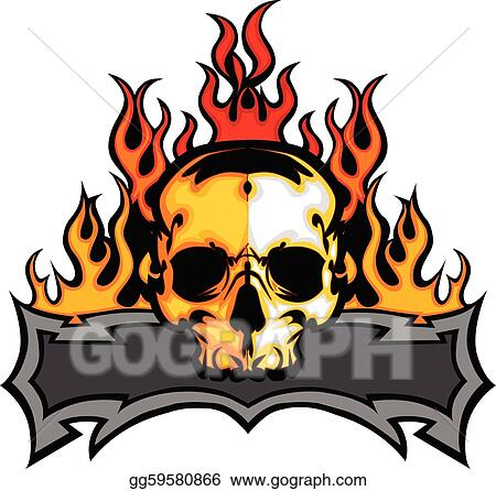 vector art skull template with flames vector i clipart drawing rh gograph com