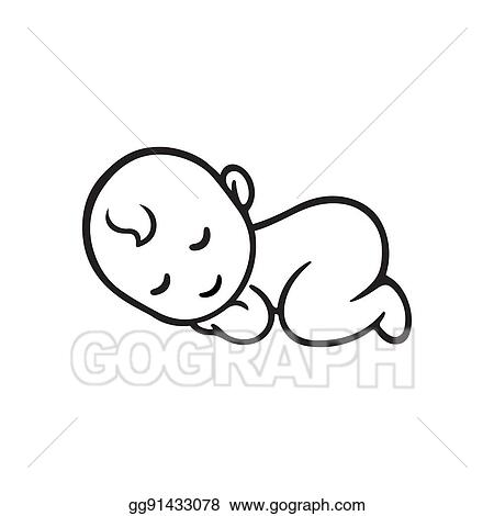Vector Clipart Sleeping Baby Silhouette Vector Illustration