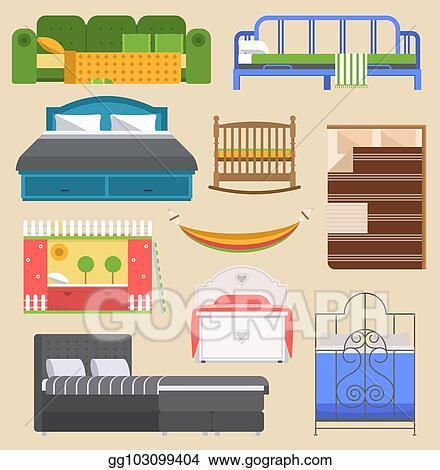 Vector Clipart Sleeping Bed Furniture Vector Design Bedroom With