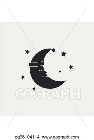 Eps Vector Sleeping Moon Icon In Nightcap And Stars Isolated On