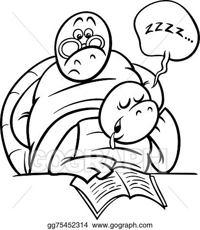 Vector Art Sleeping turtle on lesson coloring page Clipart