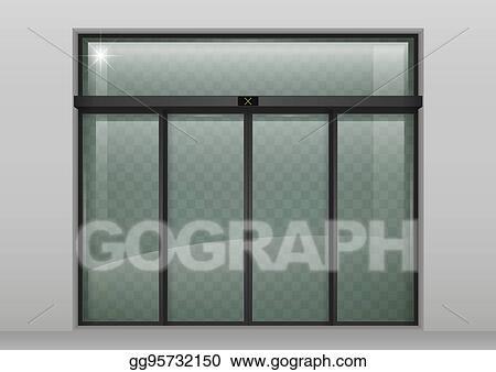 Vector Illustration Sliding Glass Automatic Doors Stock Clip Art