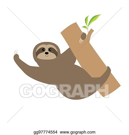 Vector Stock Sloth Tree Branch Cute Cartoon Character Wild Joungle Animal Collection Baby Education Isolated White Background Flat Design Stock Clip Art Gg97774554 Gograph