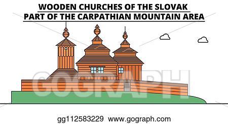 Eps Vector Slovakia Wooden Churches In The Carpathian Mountain