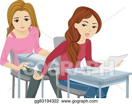 Vector Stock - Sly teen girls cheating exam  Stock Clip Art