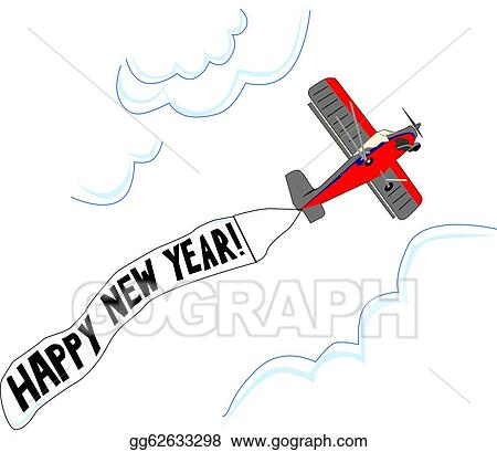 small airplane flies with happy new