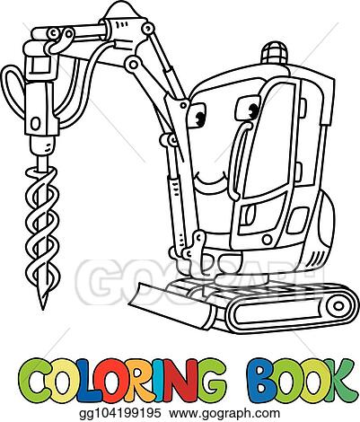 Eps Vector Small Drilling Truck Car With Eyes Coloring Book