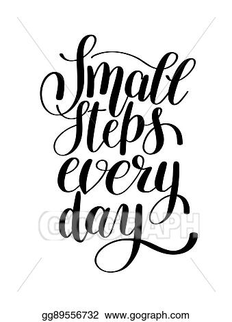 clip art vector small steps every day handwritten positive