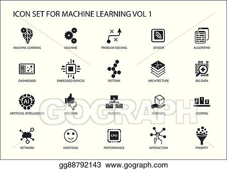 Vector Art Smart Machine Learning Vector Icon Set Symbols For