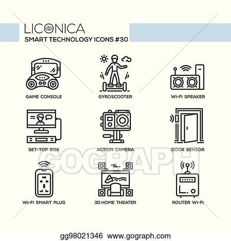 smart technology - modern vector flat line desigm icons set